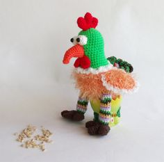 Crochet Rooster Symbol of 2017 Stuffed chicken Knitted rooster Year of Rooster New Years 2017 gift Colorful rooster Gift idea Cockerel Birds