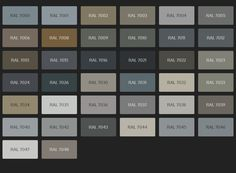 Overview of all RAL colors in the category Grey hues (RAL Classic), including color codes and color names. Ral Colours Grey, Gray Color, Ral Colour Chart, Color Palette Challenge, Farm House Colors, Colour Pallete, Cuisines Design, Exterior Makeover, Color Shades
