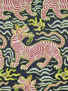 DecoratorsBest - Detail1 - CL 9985-3 - Tibet Wallpaper - Navy - Wallpaper - DecoratorsBest Clarence House $193