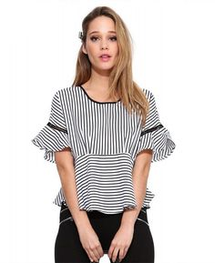 Flare Sleeve Striped Shirt Round Neck Ruffles Loose Cute Blouse 5b6fc070bea
