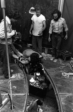 """On the set of Taxi Driver, 1976 Cinematographer Michael Chapman : """"We cut through the ceiling. Marty wanted to do it, and it was an old beat-up building on the West Side that was kind of falling apart, so we took a chance. I drew a line where it should be, the grips took chainsaws and they cut it! And it worked. They had to brace the outsides of the building so the structure wouldn't collapse, but it worked. """""""