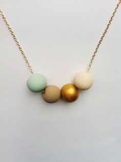 Hand painted wooden bead necklace- sea foam, khaki, nude, gold