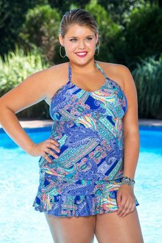 Kenneth Cole Women/'s Plus-Size 1X 3X Paisley Intuition Sweetheart Swim Dress