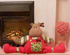 Купить Лось Олаф - игрушка от сквозняка - ярко-красный, тильда, интерьерная кукла, интерьерная игрушка
