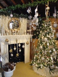 Holiday neutrals and metallic themed mantel and Christmas tree