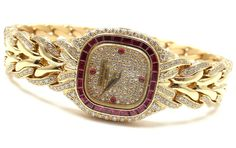 Patek Philippe Lady's Yellow Gold, Diamond and Ruby La Flamme Bracelet Watch | From a unique collection of vintage wrist watches at https://www.1stdibs.com/jewelry/watches/wrist-watches/