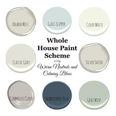 My Home Paint Colors: Warm Neutrals and Calming Blues - Saw Nail and Paint A pretty and fresh whole home paint color scheme using warm neutrals and calming blues. See photos of the paint colors used in actual rooms. Neutral Paint Colors, Paint Color Schemes, House Color Schemes, Bedroom Paint Colors, Interior Paint Colors, Paint Colors For Home, Gray Paint, Calming Colors, Interior Painting