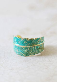 Blue Verdigris Patian Brass Feather Ring. Adjustable
