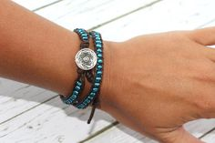 Your place to buy and sell all things handmade Hippie Bracelets, Beaded Wrap Bracelets, Beaded Jewelry, Cuff Bracelets, Silver Buttons, Silver Bangles, Boho Chic, Bohemian, Modern Gypsy