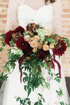 burgundy floral bouquet - photo by Photography Stylistas http://ruffledblog.com/romantic-chicago-wedding-in-a-loft