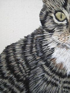 Margaret Dier Embroidery. Close up of long and short cat embroidery. Stitched using stranded cottons.