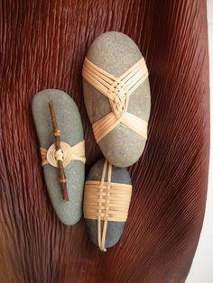 Cane wrapped rocks, Japanese basketry knots
