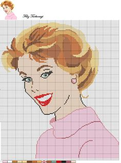 0 point de croix portrait femme en rose - cross stitch vintage portrait of lady in pink