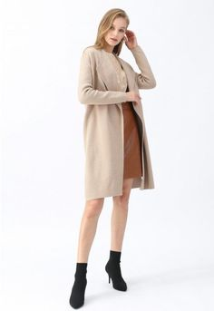Classy Open Front Knit Coat in Light Tan - Retro, Indie and Unique Fashion Girly Outfits, Cute Casual Outfits, Pretty Outfits, Stylish Outfits, Fall Outfits, Work Outfits, Unique Fashion, Indie, Tan Trench Coat