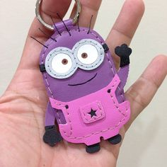 Handmader Purple Minion leather keychain , message me for ordering / pricing at Facebook : beon kan