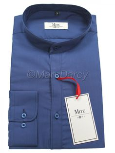 MENS PLAIN BLUE GRANDAD COLLAR SHIRT (GB3)