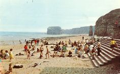 TWCMS : 1994.850. Postcard from the collections at South Shields Museum and Art Gallery. 1960's view of the beach at Marsden, South Shields