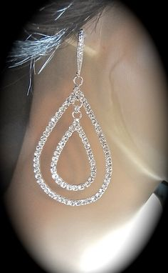 Rhinestone earrings  Large  Teardrops  by QueenMeJewelryLLC, $46.99