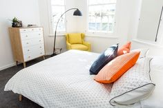 Brooke and Mitch's Guest Bedroom - Room Gallery - The Block NZ Villa Wars - Shows - The Block Room Reveals, The Block Nz, Freedom Furniture, Stylish Bedroom, Contemporary Wall Art, Black Walls, Spare Room, Bedroom Styles, Best Interior