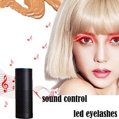 Hot Sale Halloween LED Eyelashes - Umoney Unisex Waterproof Flashes Interactive Changing F. Lashes Luminous Shining Charming Eyelid Tape for Party Bar NightClub Concerts Birthday Gift Halloween - Red >>> For more information, visit image link. (This is an affiliate link) #EyeMakeup