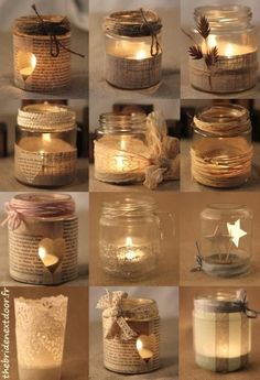 Rustic Christmas Mason Jar Ideas Here are different ways to decorate a simple mason jar candle holder. Use old music sheets, or book sheers, some twigs, ribbons and more. candles in mason jars easy Mason Jar Christmas Crafts, Christmas Candles, Mason Jar Crafts, Rustic Christmas, Bottle Crafts, Christmas Diy, Christmas Decorations, Wedding Decorations, Coffee Jar Crafts