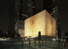 Ronald O Perelman Performing Arts Center at New York's World Trade Center by Rex Architecture, laminated marble veined glass