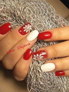 Lina Dyuzheva's photos Xmas Nails, Holiday Nails, Shellac Nails, Nail Manicure, Fancy Nails, Trendy Nails, Cure Nails, Cute Nail Art Designs, Short Nails Art