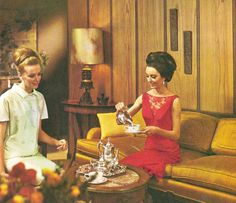 Tea time, 1965 style.  Georgia Pacific wood paneling ad