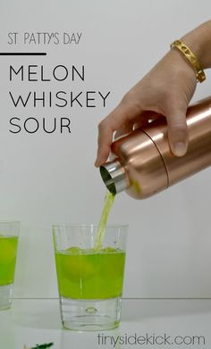 st. patty's day drink, st. patrick's day cocktail, green drink, green cocktail, whisky sour recipe, cocktail made with whiskey, melon midori, midori sour