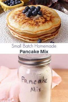 This homemade pancake mix is a real lifesaver. Make a container and when you want to make a small batch of fluffy, delicious pancakes, just mix in an egg, milk, and melted butter. Serve with the syrup of your choice. Small Batch Waffle Recipe, Easy Pancake Batter, Small Batch Baking, How To Cook Pancakes, Tasty Pancakes, Pancakes And Waffles, Pancakes Mix Recipe