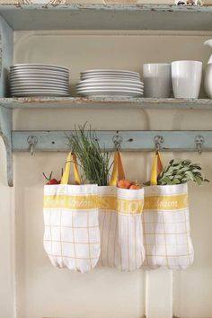 tea towels transformed into veg bags - great little sewing project