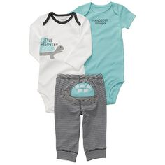 "Carter's Boys 3 Piece Turtle Turn Me Around Set with Long Sleeve Bodysuit, Short Sleeve Bodysuit, and Pant - Carters - Babies ""R"" Us"