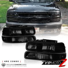 Details About 1999 2002 Chevy Silverado 2000 2006 Suburban Tahoe Dark Smoke Headlights Lamps