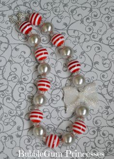 {SilverBells}  Chunky BubbleGum bead necklace XMAS Holiday Red & white Stripe- Silver bells White Sparkle bow girls toddler baby Jewelry on Etsy, $18.00