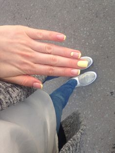 Yellow French manicure with a twist