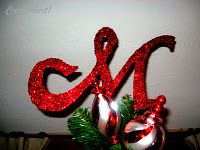 DIY Glitter monogram tree topper