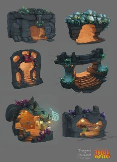 Drawing Ideas Trollhunters Concept Art by Geoffroy Thoorens Game Art, Concept Art World, Game Concept Art, Environment Concept, Environment Design, Game Environment, Prop Design, Game Design, Dreamworks