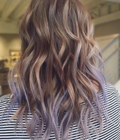 Lavender lilac balayage lilac hair, pastel hair, ombre hair, brown hair w. Purple Brown Hair, Lilac Hair, Hair Color Purple, Light Brown Hair, Brown Hair Colors, Subtle Purple Hair, Gray Hair, Blue Hair, Blonde Hair With Color