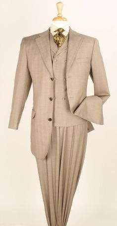Apollo King Men's 3 Piece Fashion Suit - Double Breasted Vest - Taupe