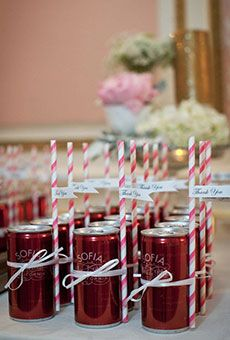 Cans of Champange with Colorful Straws | Wedding Favor