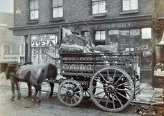 1900 - Hassell's - the Pea and Potato Salesman's cart outside 91 Devonshire Road, Poplar Victorian London, Vintage London, Old London, Victorian Era, Edwardian Era, Uk History, London History, British History, 19th Century London