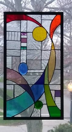 Abstract, Art Deco, Geometric, Frank Lloyd Wright, Rainbow, Glass, Stain