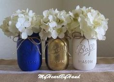 Cobalt Blue Gold and White Distressed Mason Jar Centerpieces, Rustic Home Decor, Team Colors, Painted Ball Jars, Wedding and Baby Shower
