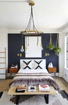 33 Epic Navy Blue Bedroom Design Ideas to Inspire You Navy blue is a highly sophisticated color that would fit a bedroom? Cast a glance over our navy blue bedroom ideas and convince yourself of its epicness! Glam Bedroom, Home Decor Bedroom, Bedroom Setup, Bedroom Furniture, Diy Bedroom, Bedroom Modern, Trendy Bedroom, Reuse Furniture, Bedroom Lamps