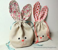 "BUNNY POUCH TUTORIAL What you will need: - 2 fat 1/8s fabric or 2 pieces of scrap fabric approx. 7"" x 18""- Approx. 38""narrow ribbon ..."