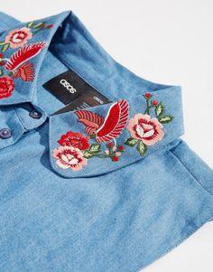 Image 2 of ASOS Denim Bib With Embroidered Collar