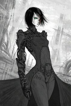 Rework of my recent OC. Also I tried to change my style a bit. Cyberpunk, Blame Manga, Sci Fi Art, Fantasy Warrior, Female Cyborg, Cyberpunk Art, Robot Girl, Cyberpunk Anime, Fantasy Girl