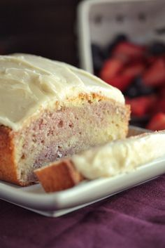 Starbucks Copycat Raspberry Swirl Pound Cake with Cream Cheese Frosting - www.countrycleaver.com