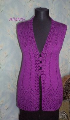 BB Knit Vest Pattern, Knitting Patterns, Crochet Patterns, Half Sweater, Blouses For Women, Sweaters For Women, Crochet Bedspread, Sleeveless Cardigan, Crochet Squares