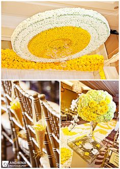 yellow, gold and white indian wedding decor